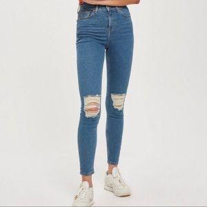 Topshop Jamie High Waist Ripped Jeans 30x32